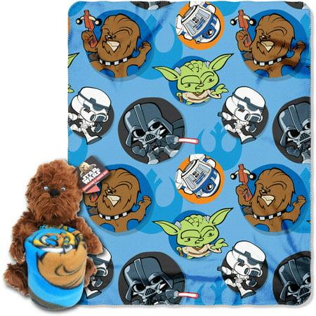 Lucasfilm Star Wars, Chewie Hugger Character Shaped Pillow and 40x 50 Fleece Throw Set (Star Wars Fleece)
