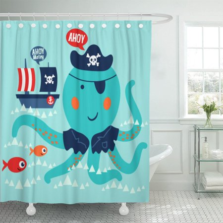PKNMT Cute Octopus Swimming Red Fishes and The Pirate Boat Shower Curtain 60x72 inches - Pirate Shower Curtain
