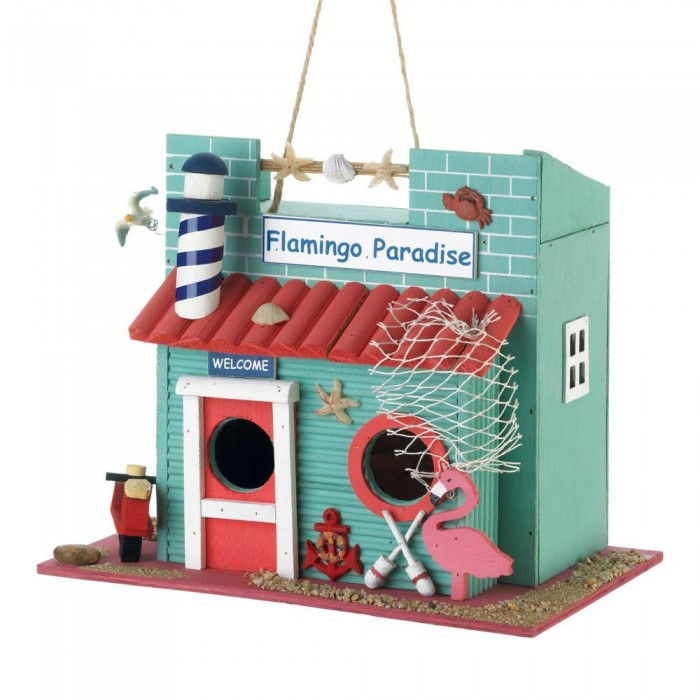 Modern Birdhouse For Finch Chickadee Hanging Bird House - Eucalyptus Wood