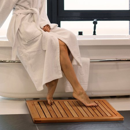 UBesGoo Natural Bamboo Mat Shower Floor Wooden Bath Non Slip Safety Water Resistant (Best Bath Mats For Elderly)