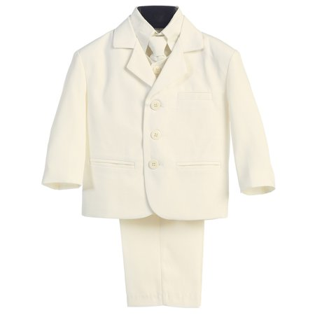 Little Boys Ivory Special Occasion Wedding Easter 5pc Suit Set - Suits For Little Boys