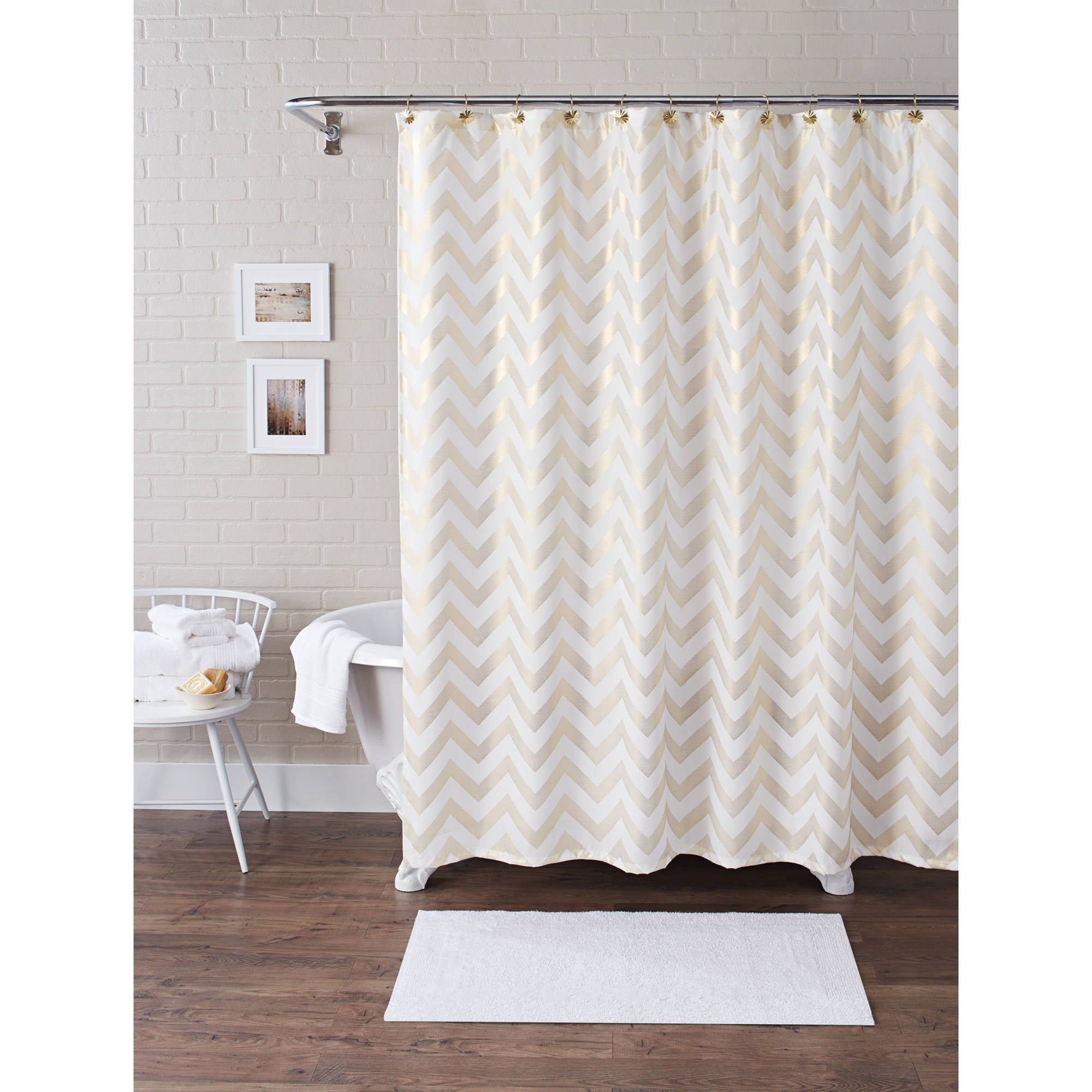 Better Homes and Gardens Metallic Chevron Fabric 13-Piece Shower Curtain Set by Maytex Mills