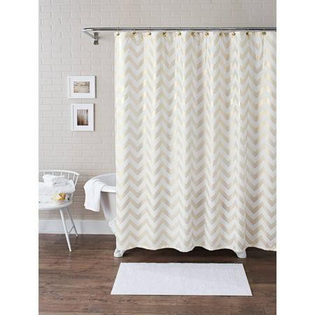Better Homes and Gardens Metallic Chevron Fabric 13-Piece Shower ...