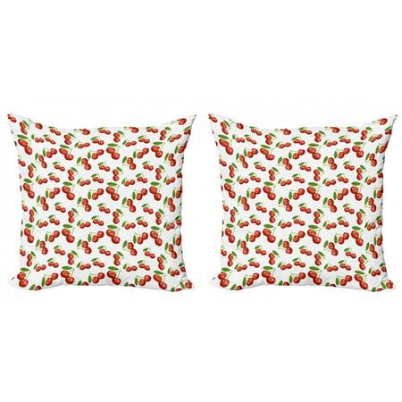 Fruit Throw Pillow Cushion Cover Pack of 2, Cherry Design Fresh Berry Fruit Summer Green Garden Macro Digital Print, Zippered Double-Side Digital Print, 4 Sizes, White Vermilion Green, by Ambesonne Dark Cherry Side Server