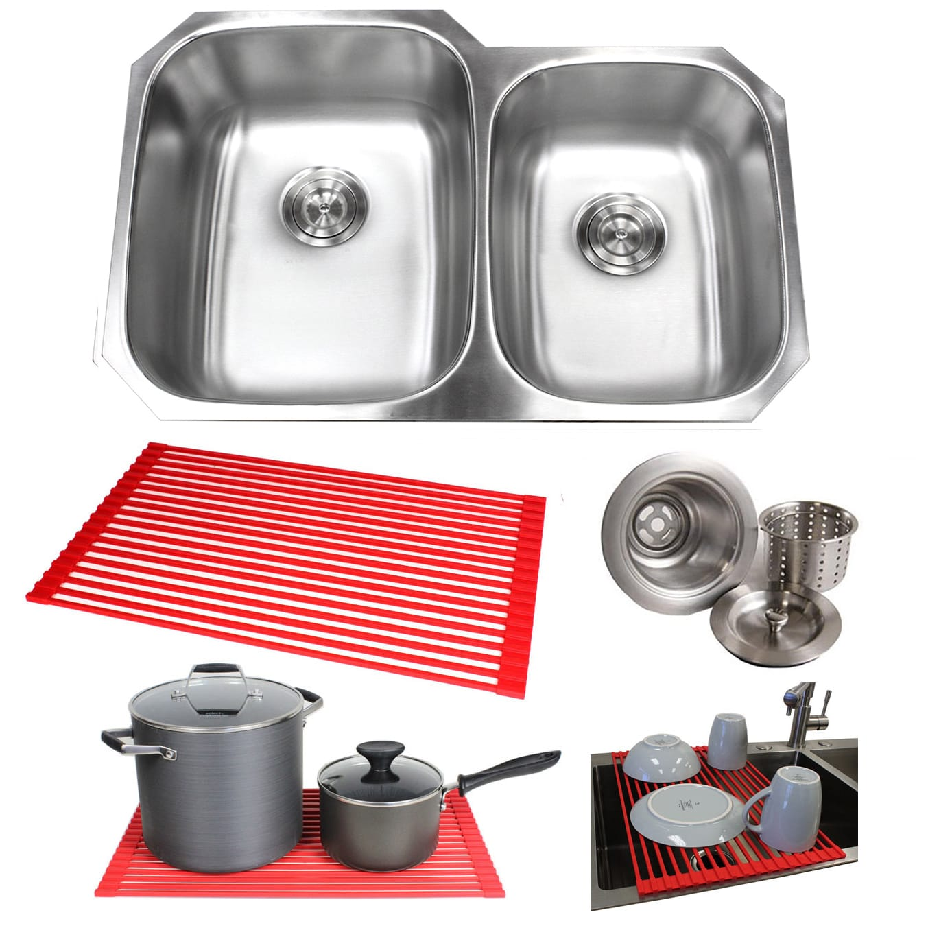 32 Stainless Steel 18g Double 60 40 Dish Rack 32 Inch Double 60 40