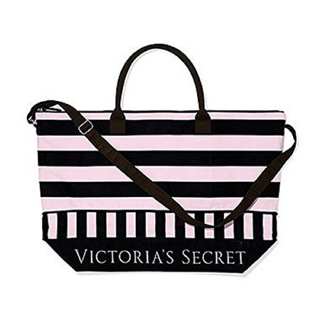 Victoria's Secret Getaway Canvas Tote Pink/Black Stripe - image 1 of 1