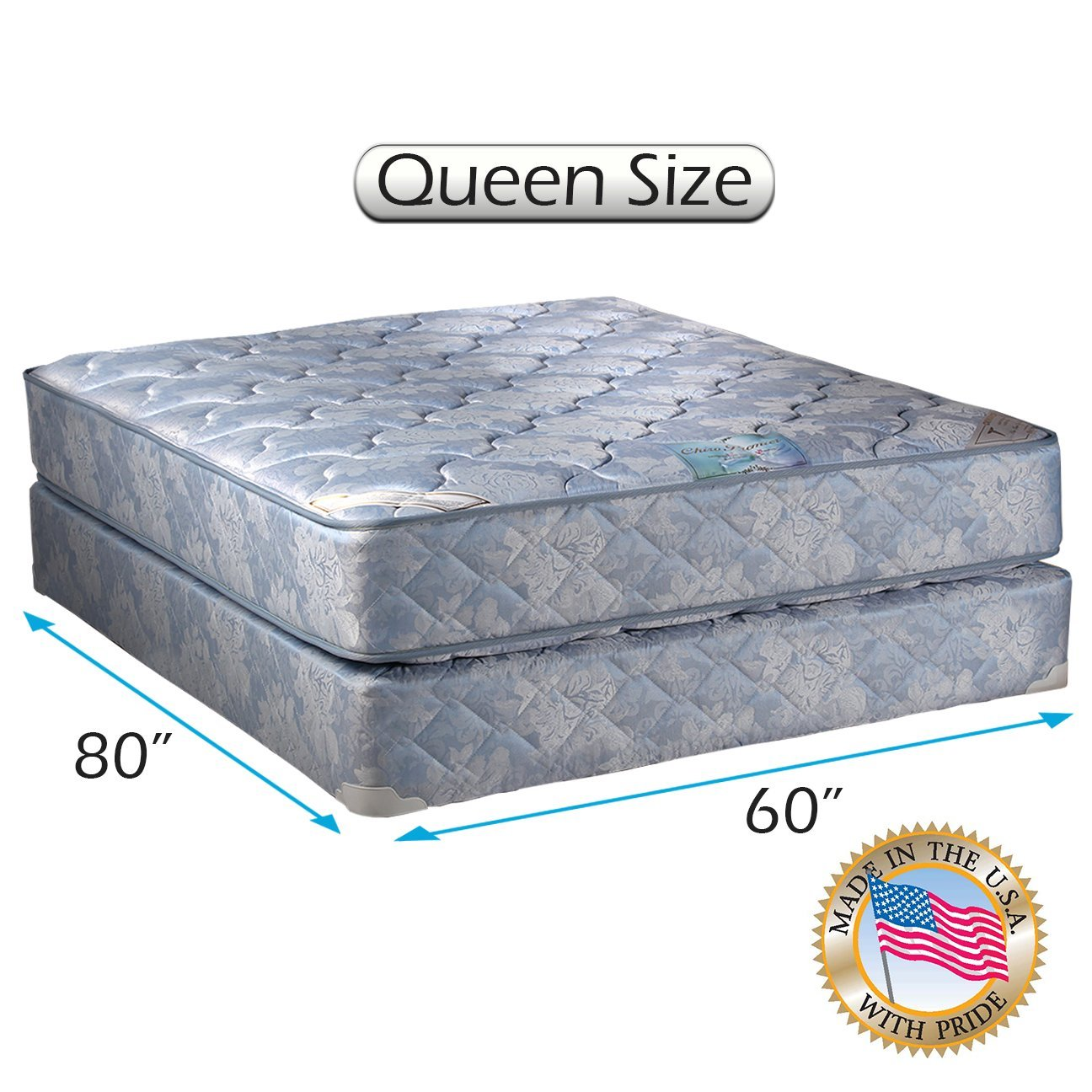 Chiro Premier 2-Sided (Blue Color) Queen Size Mattress set with Mattress Cover Protector Included - Fully Assembled, Back Support, Long Lasting By Dream Solutions USA