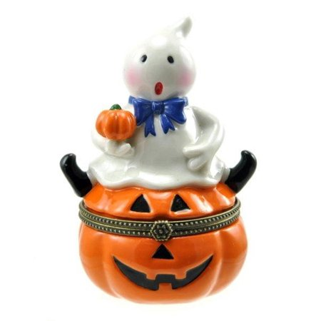 New Leaf Halloween Jack In The Box (Happy Halloween Ghost Sitting on Jack O Lantern Pumpkin Hinged Trinket)