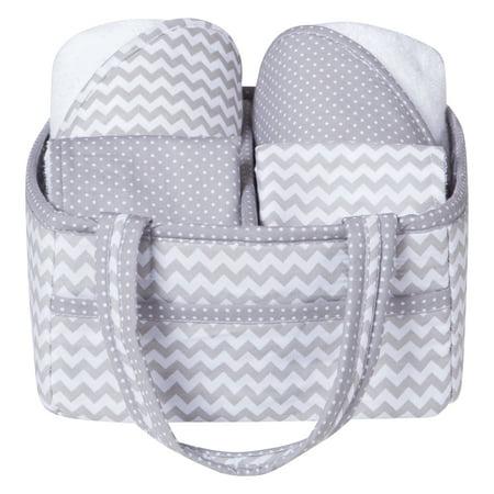 Gray Chevron 5 Piece Baby Bath Gift Set