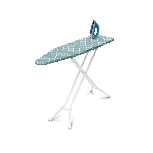 "4-Leg Steel Top Ironing Board, Blue Lattice Cover, Measures 54"" long x 14"" wide, Fully adjustable... by"