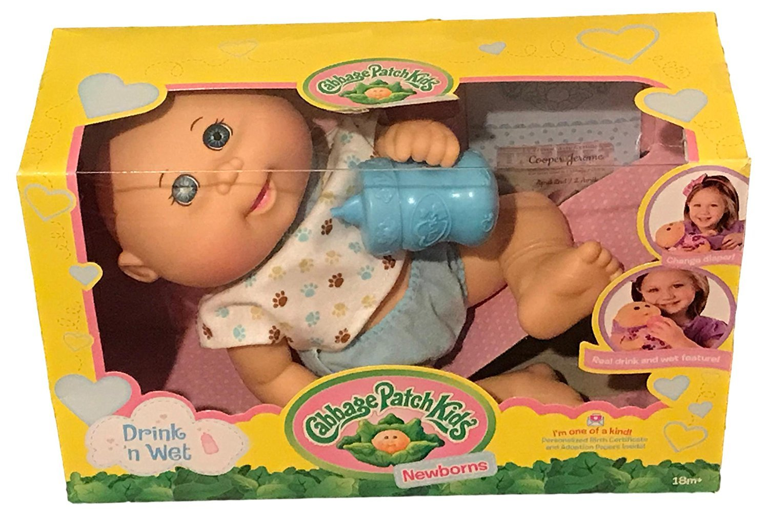 Cabbage Patch Kids Drink N' Wet Newborn Baby Doll (Paw Print) by