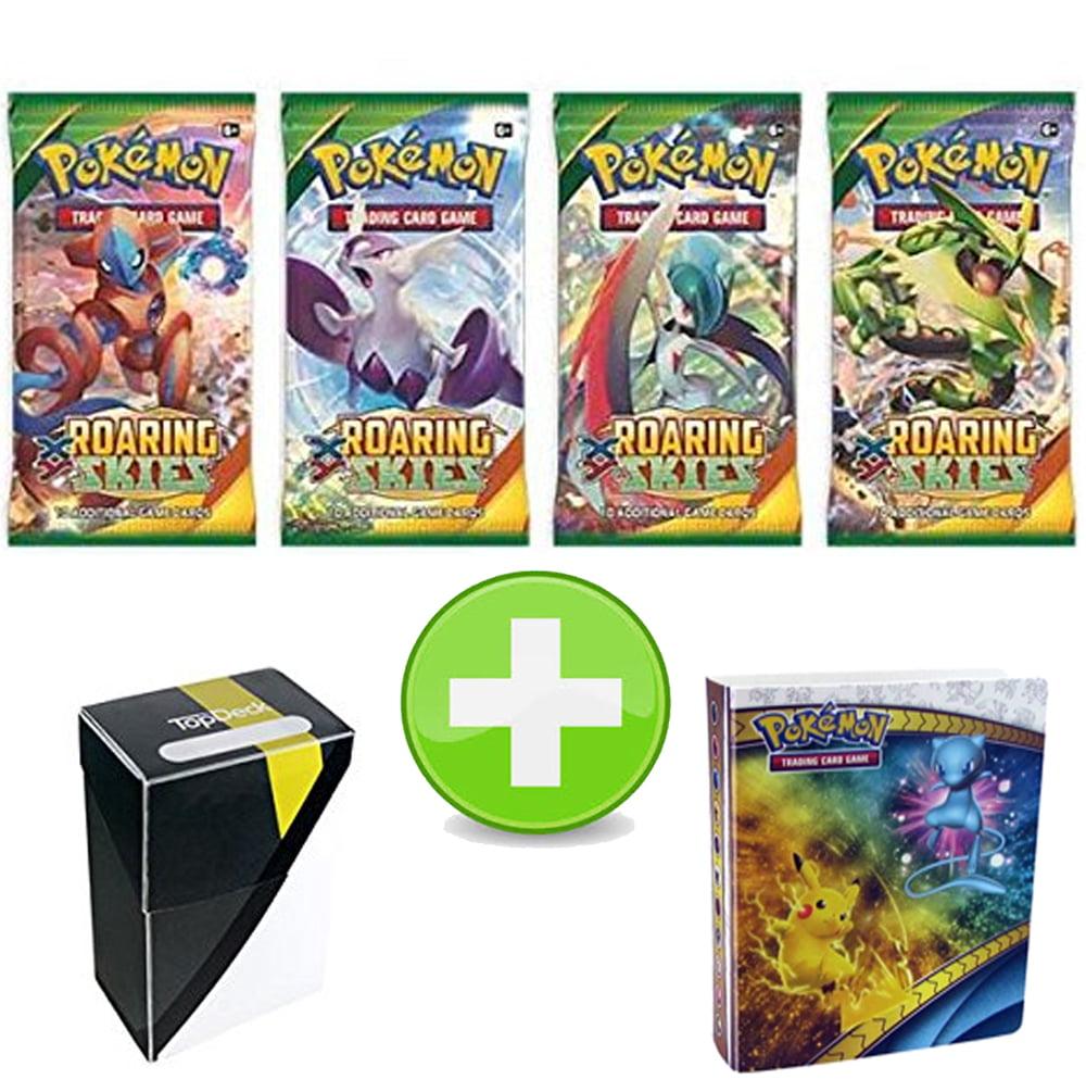 Pokemon Roaring Skies Booster Pack with 1 Ultra Ball Colorway Deck Box & Pikachu Mew Mini Binder