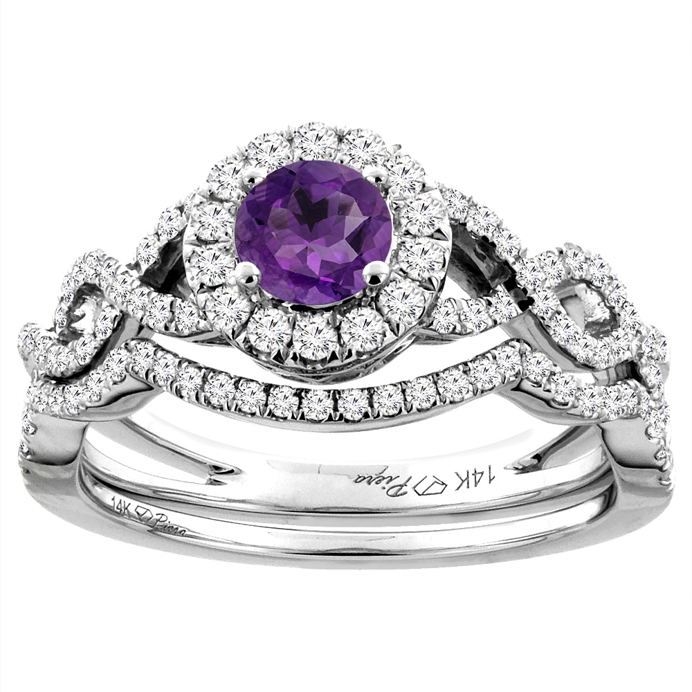 14K White Gold Diamond Natural Amethyst Halo Engagement Bridal Ring Set Round 5 mm, size 6 by Gabriella Gold