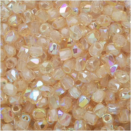 - True2 Czech Fire Polished Glass, Faceted Round Beads 2mm, 50 Pieces, Crystal Yellow Rainbow