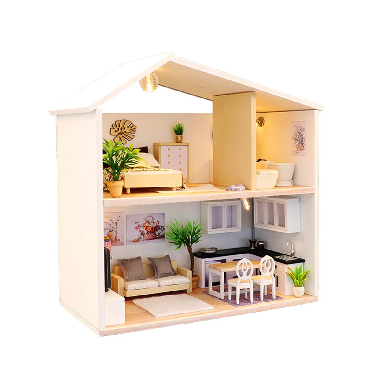 Mrosaa DIY Miniature Kit Wooden Toy Model Doll House Modern House Kid Gift  w/ LED Light