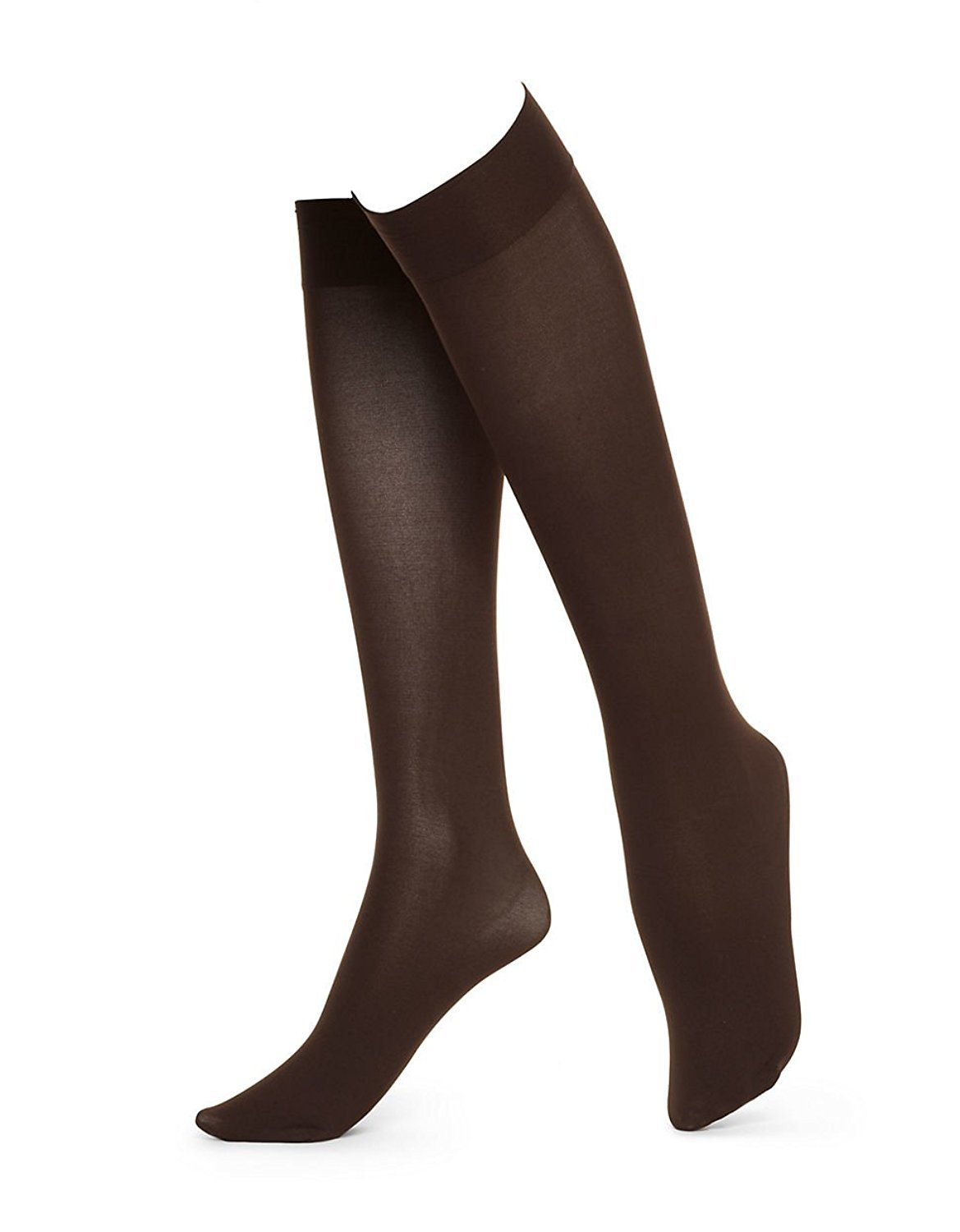 Women/'s Trouser Socks Opaque Stretchy Nylon Knee High Many Colors 6 or 12 Pairs