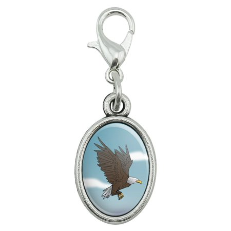 Bald Eagle Flying Antiqued Bracelet Pendant Zipper Pull Oval Charm with Lobster Clasp