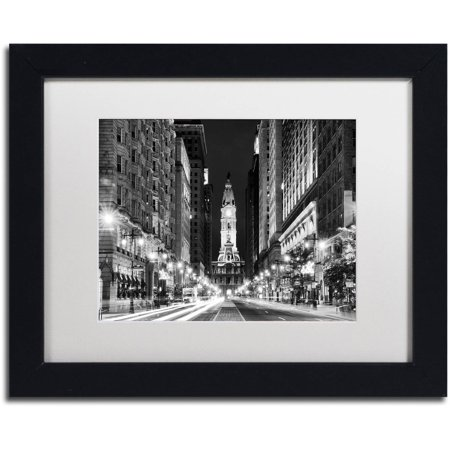 "Trademark Fine Art ""City Hall Philadelphia"" Canvas Art by Philippe Hugonnard, White Matte, Black Frame"