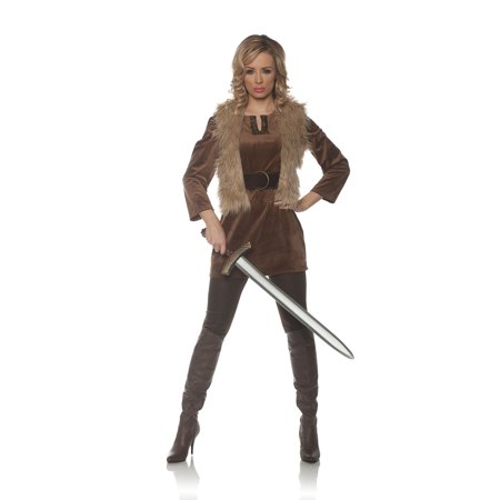Lady Crusader Womens Adult Hunter Robin Hood Brown Costume - Womens Hunter Costume