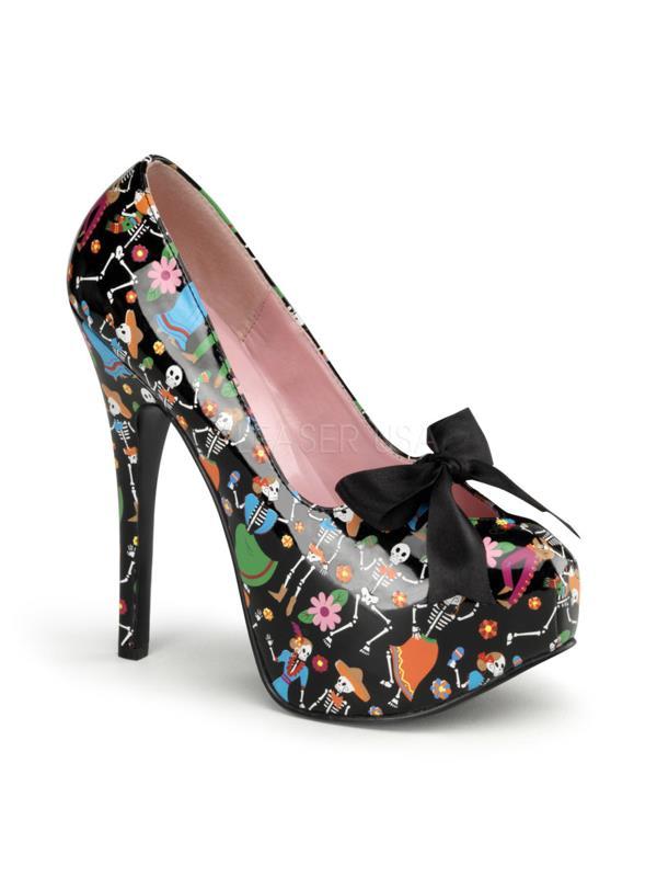 """Pin Up Couture Platforms 5 3/4"""" Teeze Blk Pat Muertos Print) Size: 8"""