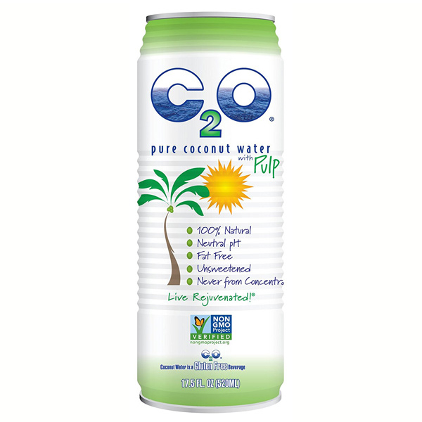 C2O Pure Coconut Water with Pulp 17.5 oz Cans - Pack of 12