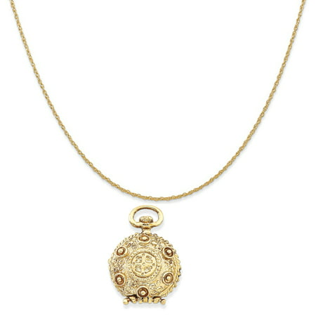 (14k Yellow Gold Fancy Domed Locket Pendant on a 14K Yellow Gold Rope Chain Necklace, 20