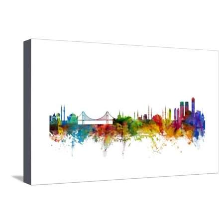 Istanbul Turkey Skyline Stretched Canvas Print Wall Art By Michael Tompsett