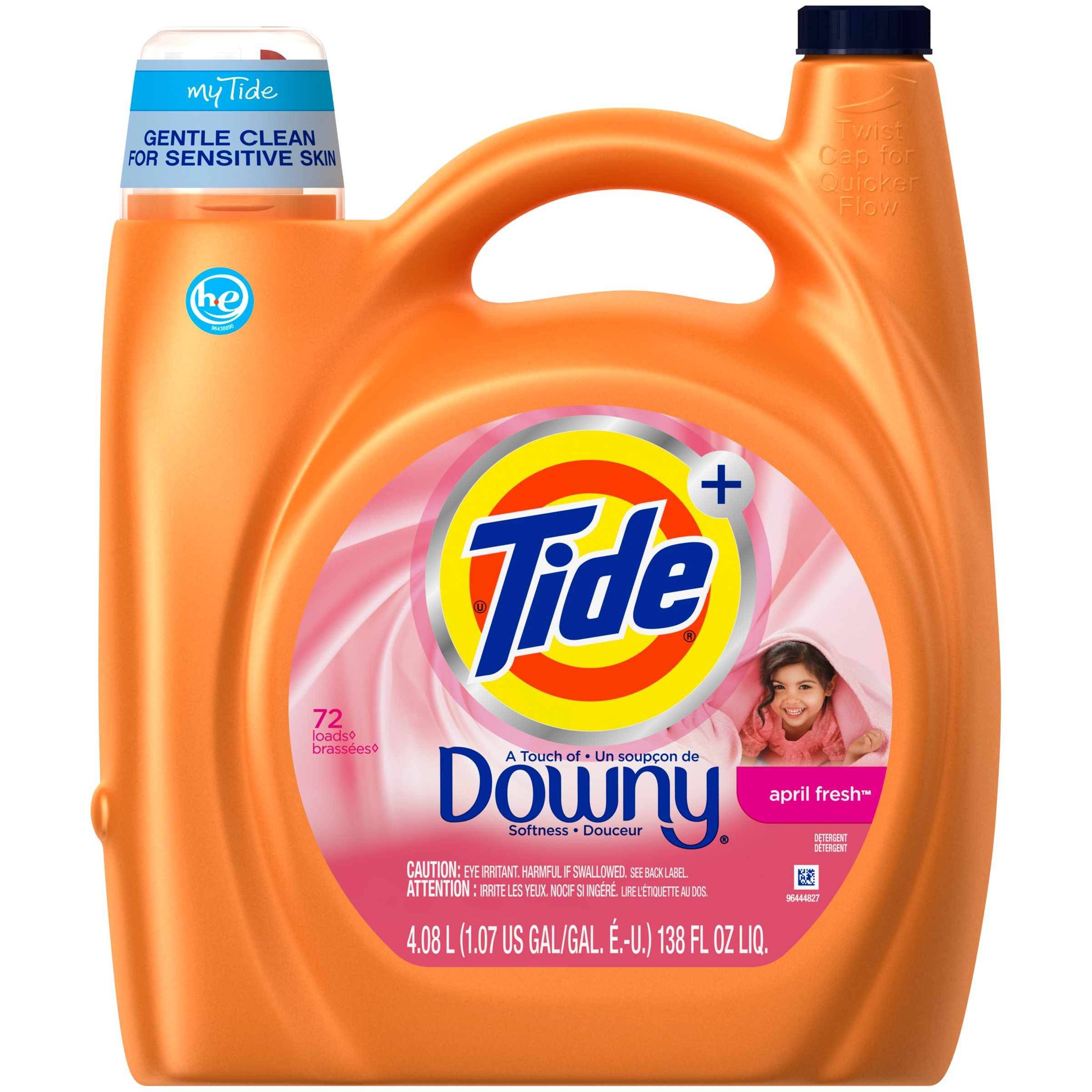 Tide + Downy April Fresh Liquid Laundry Detergent 138 fl. oz. Plastic Jug
