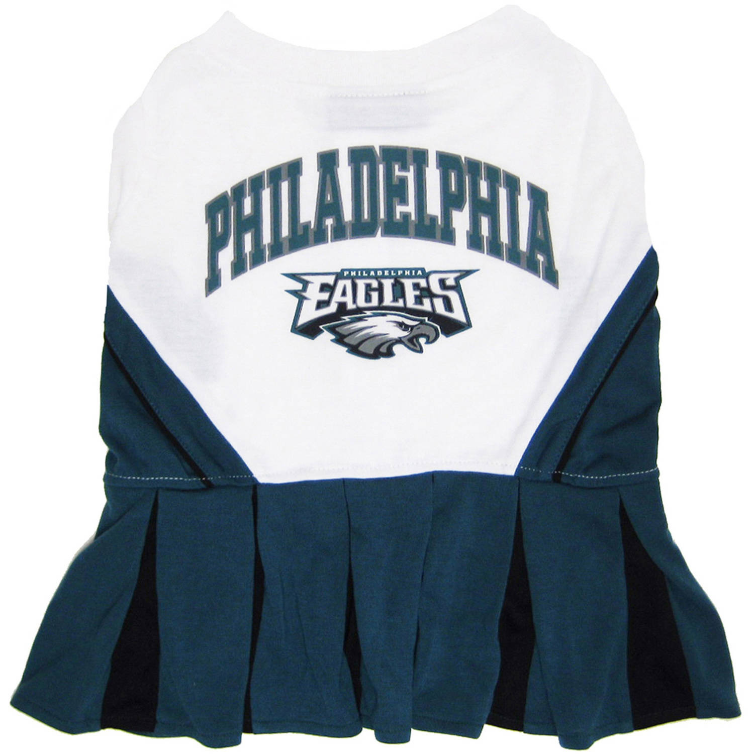Pets First NFL Philadelphia Eagles Cheerleader, 3 Sizes Pet Dress Available. Licensed Dog Outfit
