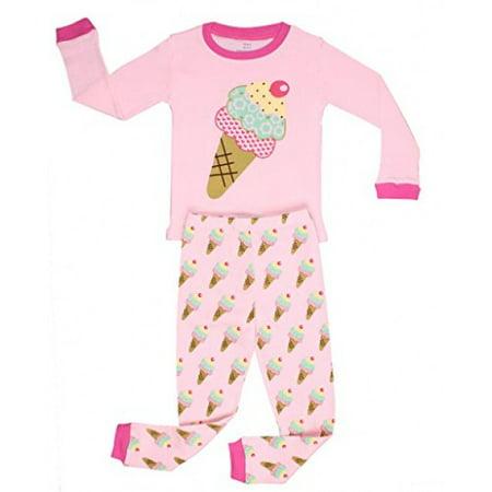 "Elowel Little Girls ""Ice Cream"" 2 Piece Pajama Set 100% Cotton 3 years"