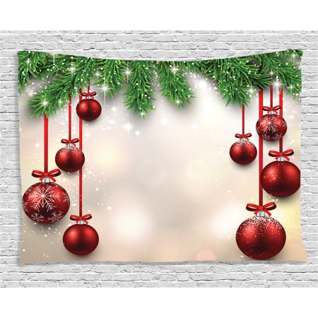 Christmas Decorations Tapestry, Xmas Winter Season Theme Fir Twigs and Vibrant Balls Graphic Print, Wall Hanging for Bedroom Living Room Dorm Decor, 60W X 40L Inches, Green Red, by - Winter Ball Theme Ideas
