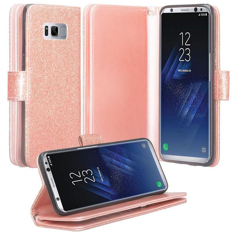 Samsung Galaxy S8+, S8 Plus Case - Wydan Bling Glitter Wallet Card Slot Kickstand Feature w/ Strap Sparkle Phone Cover - Rose Gold