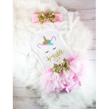 Fashion 3Pcs Newborn Baby Girls Unicorn Princess Top Romper Tulle Short Pants Skirt Headband Outfits Clothes 0-6