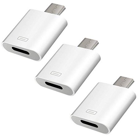 Charger Adapter, Lightning Female to Micro USB Male Fast Charge and Data Sync Converter Connector for Smartphone, Tablet, GPS, Camera, Power Bank Through Apple Lighting Cable- White, 3-Pack (Usb Connector Tablet)