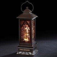 """11"""" Holy Family Swirl Lantern Cut Out Wise Men and Shepherds LED"""