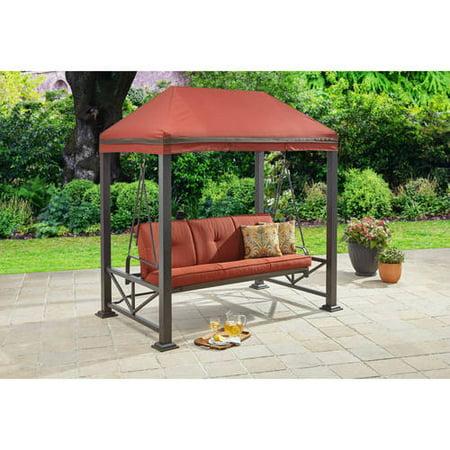 Better Homes & Gardens Sullivan Pointe 3-Person Gazebo Porch Swing Bed