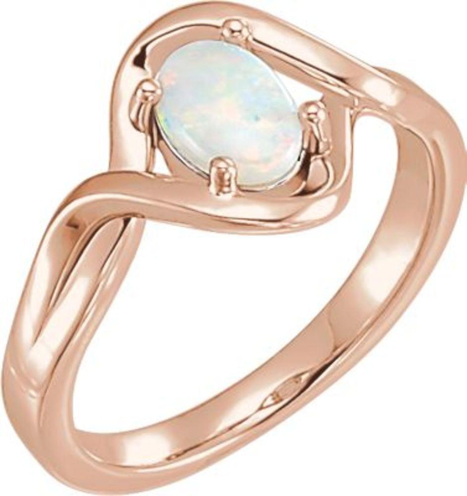 14K Rose 7x5mm Opal Ring in 14k Rose Gold by Bonyak Jewelry