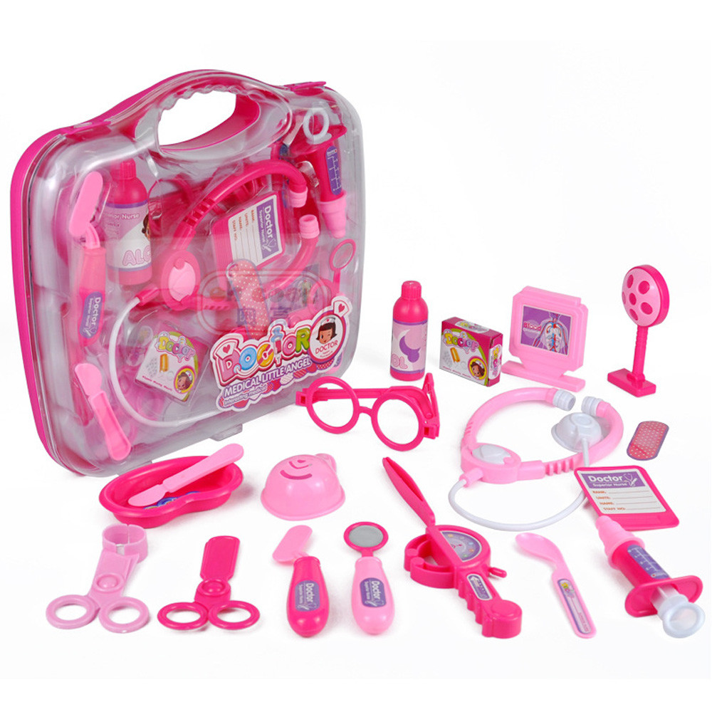 Mosunx 19PCS Kids Childrens Role Play Doctor Nurses Toy Medical Set Kit Gift Hard Case