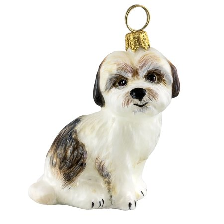 - Cavachon Sitting Dog Polish Blown Glass Christmas Ornament