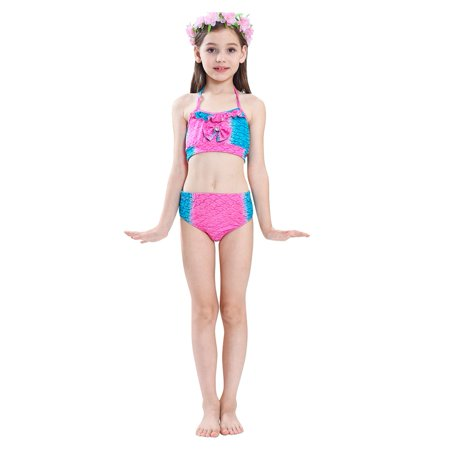 b2234dae Sonew 3pcs/set Children Sea-maid Tail Swimsuit Girls Swimwear Swimming  Bathing Suit Bikini Set, Swimming Suit,Sea-maid Suit