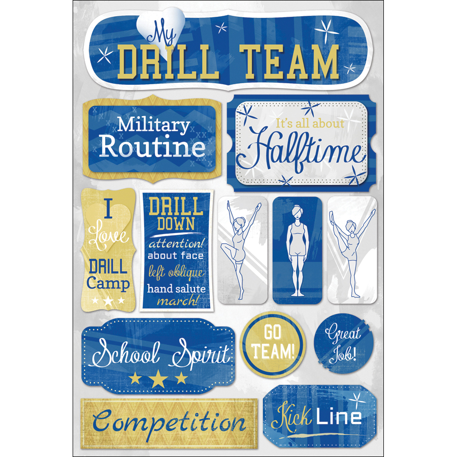 Drill Team Cardstock Stickers 5.5 Inch X 9 Inch