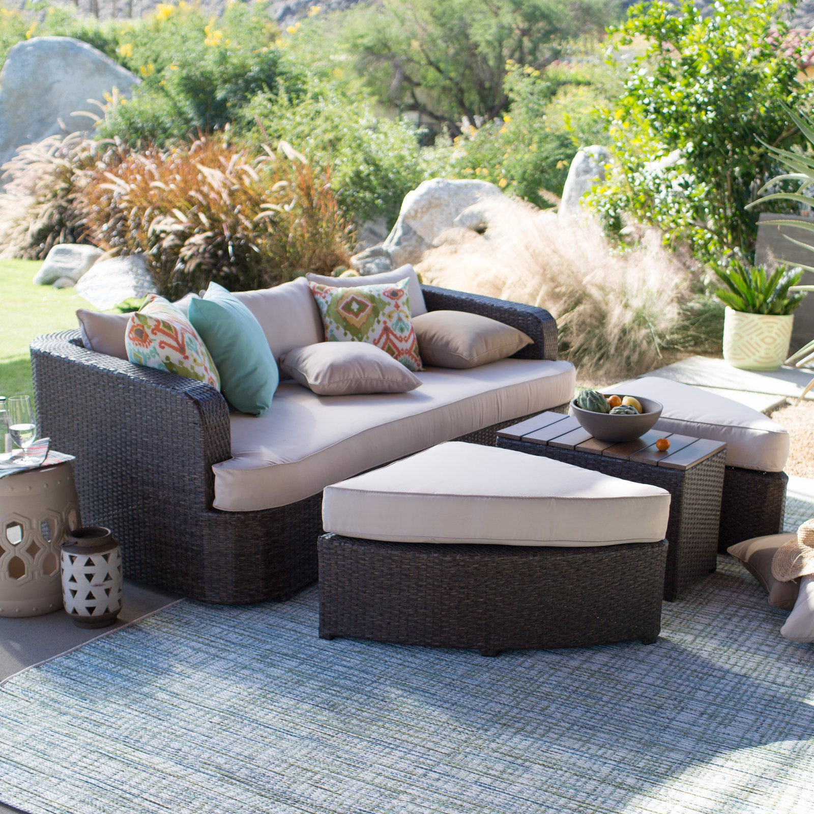 Belham Living Wayland All Weather Wicker Sofa Daybed Sectional Set