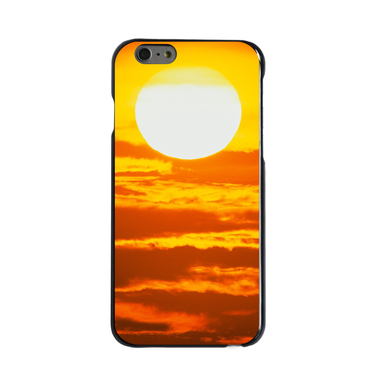 "CUSTOM Black Hard Plastic Snap-On Case for Apple iPhone 6 / 6S (4.7"" Screen) - Bright Sun Sky Red"
