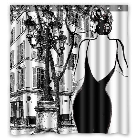 YKCG Black And White Paris Street Elegant Woman Shower Curtain Waterproof Fabric Bathroom 66x72 Inches