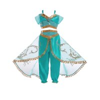 Aladdin Jasmine Princess Cosplay Kids Girls Garment Fancy Dress Up Party Costume