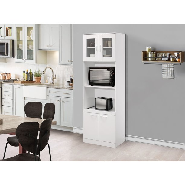 Gremlin Kitchen Storage Pantry Microwave Cabinet White Wood Glass Contemporary Walmart Com Walmart Com