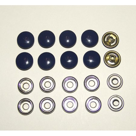 Snap Fastener, Indigo Blue, Stainless Steel & Brass Cap Post & Socket, Female Portion of Snap, 10 Pc., Indigo Blue Enamel Finish Snap Fastener's By Northwest Tarp Canvas Ship from -