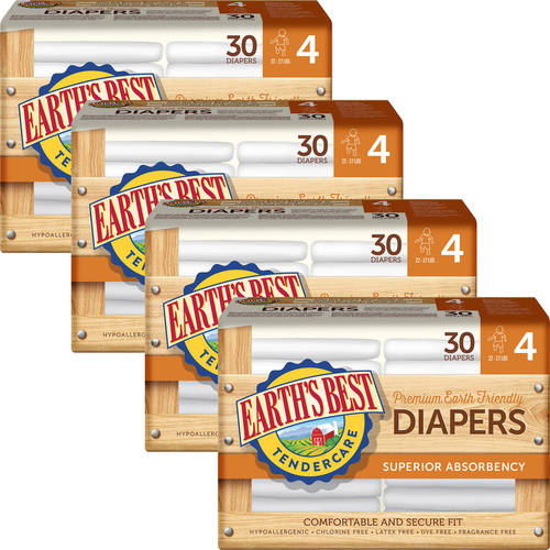 Earth's Best - TenderCare Chlorine-Free Diapers, Size 4, 30 Count (Pack of 4)