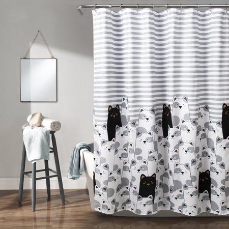 Stripe Bear Shower Curtain Gray Black 72X72