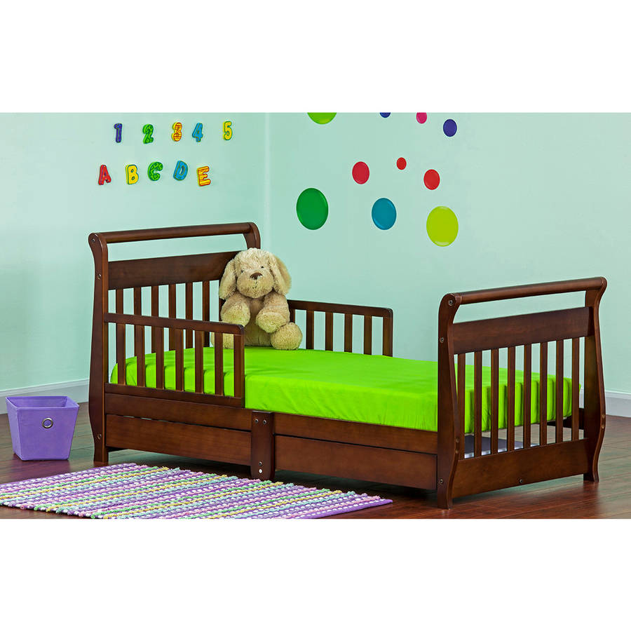 Dream On Me, Sleigh Toddler Bed with Storage Drawer,Espresso